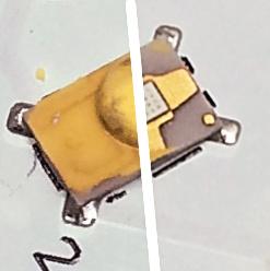 LED mit gelbem Leuchtstoff. Rechts ist dieser entfernt, darunter in weiß der eigentliche LED-Chip.